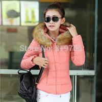 Fashion 2014 New Ladies wadded jacket winter coat fur hoody slim short women winter outerwear thick down parkas oversize