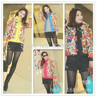 NEW women fashion slim Printing flower Cotton-padded jacket women clothing Down Jackets coat ,free shipping
