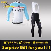 2014 Bianchi1 winter Fleece Thermal Long Sleeve and Bib Pants Cycling Jerseys /Wear/Clothing/Bicycle/Bike/Riding jerseys/Gel Pad