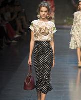 2014 New Women fashion bodycon casual ruffles dot trumpet skirt England style party skirt evening skirt ST8057