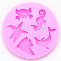 2014 NEW Marine animals silicone mold,Fondant Cake Decorating Tools,molde de silicone,Silicone Cake Mold