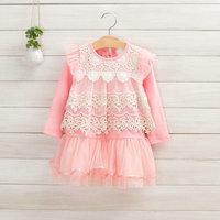 Sweet Korean lace hollow  long sleeve knit dress