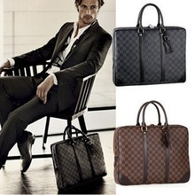New 2014 smooth leather accessories spacious large capacity around zipper design classic business briefcase free shipping(China (Mainland))