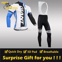 2014 Blue GIANT winter Fleece Thermal Long Sleeve and Bib Pants Cycling Jerseys /Wear/Clothing/Bicycle/Bike/Riding jerseys/Gel