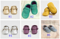 free shipping-Toddler/infant solid colour fringe shoes baby tassel moccasins soft sole moccs booties