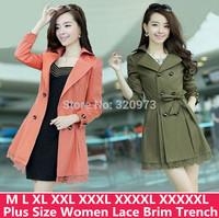 M L XL 2XL 3XL 4XL 5XL size high quality women work wear trench coat 2014 new plus size medium long slim lace coat free shipping