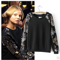 2014 New Women Fashion Black Color Full Sleeve Paillettes Deco Sweatshirt Hoodies Sweatershirts coat