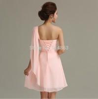 Mini Short 2014 One Shoulder Halter Mint Pink Bridesmaid Dresses Cheap Wholesale Wedding Party Dress Vestido De Festa