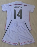 14-15 ALONSO 14 JAMES 10 BALE 11 ISCO 23 RONALDO 7 PEPE 3 real madrid home white kids boy child youth soccer jersey uniform