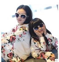 2014 Spring/Autumn Mother Daughter Floral Print Beautiful Sweatshirt Clothing Set Korean Style Family Clothing Set