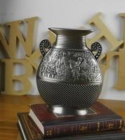 High quality Chic Vintage Carved Vase  Tabletop Flower vase Metal Crafts decorations Gifts Present