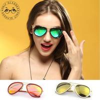6 colors new style reflective sunglasses aviator women mens sunglasses brand designer vintage glasses oculos de sol feminino