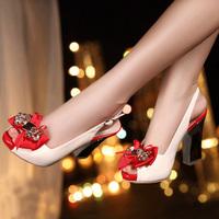 2014 summer platform genuine leather high-heeled sandals female thick heel open toe shoe bow