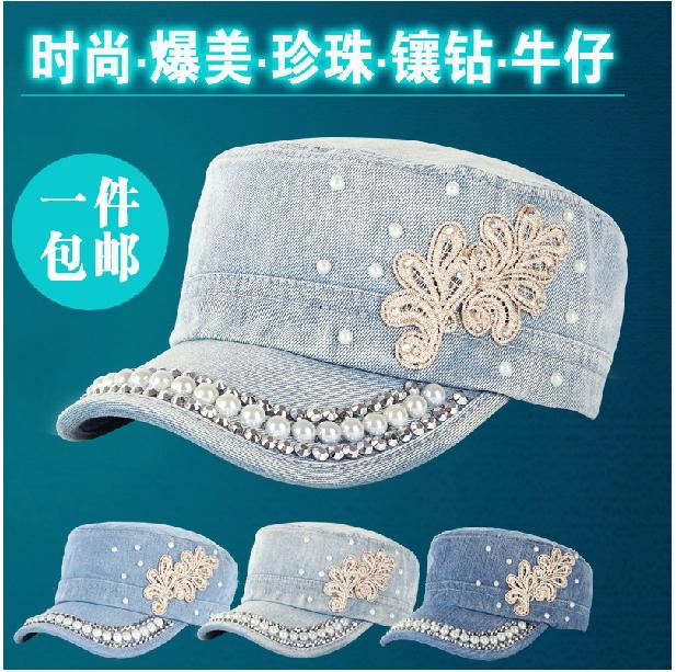 free freight Summer women's cowboy hat fashion cadet cap baseball cap military cap hat diamond sunbonnet(China (Mainland))