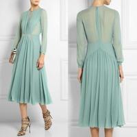Free Shipping Fall 2014 Charming Chiffon Silk Long Dress 0825HU4044