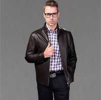 Free shipping 2014 autumn and winter leather sheep skin leather men plus sizeXXXL Men Jacket Factory direct sale