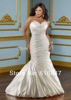 2014 Plus Size New Style High Quality Long White/Ivory Mermaid/Trumpet Satin Beading Lace Wedding Dresses Custom Size