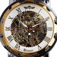 Original Brand WINNER Skeleton Dial Men Hand-winding Mechanical Black Leather Band Wrist Watch