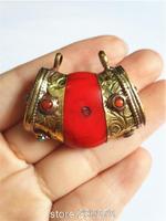 TBP100  Tibetan silver capped Red Coral pendants,Nepal big resin pendants,Tibet handmade jewelry