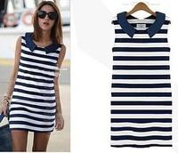 2014 Summer  Clothing Women Fashion Denim Collar  Sleeveless Casual  Trendy Bodycon Striped Dress Ladies Free Shipping Y406