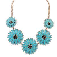 2014 Newest Luxury JC Shourouk Crystal Daisy Chrysanthemum Choker Necklace Design Beauty Fashion Women Accessories Jewelry