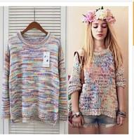 2014 Womens Ladies Fashion Sweatshirt Multicolor Long Sleeve Autumn Pullovers Knitting Wool Blend knitwear Sweater  YS8566