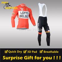 2014 Lotto winter Fleece Thermal Long Sleeve and Bib Pants Cycling Jerseys /Wear/Clothing/Bicycle/Bike/Riding jerseys/Gel