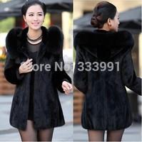 Winter coat female Imitation rabbit fur 2014 faux fox fur collar length size 4 xl - s XXXL black bold coat