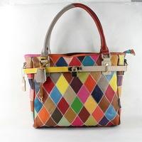 Hot 2014 Fashion Brand Women Genuine Leather Handbags Cowhide Patchwork Handbag Shoulder Bag Women Messenger Bag Totes M105
