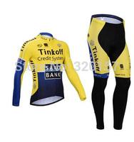 SAXO BANK yellow winter Fleece Thermal Cycling Jersey bicicleta Ropa ciclismo bicicleta bicycle bike maillot clothing bib pant