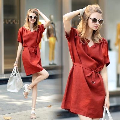 linen short dress 2014 summer new arrival slim elegant ladies fashion cotton dresses European brand female hot sale(China (Mainland))