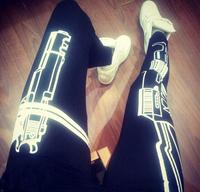 2014 New Women Gun Print Yoga/Sport Legging Fitness Pants Harajuku Gun /Work out Black Slim Sexy Soprtwear Leggings