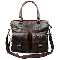 New Vintage Fashion Casual Genuine Leather Cowhide Oil Wax Leather Men Handbag Shoulder Bag Messenger Bag Bags For Men 004A