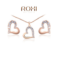 ROXI Brand Charm Fashion Rose Gold Plated Women Wedding Necklace+Earrings Sets Crystal Heart Pendant Jewelry For Engagement