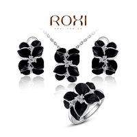 ROXI Charm Luxury Women Bridal Earring+Necklace+Ring Jewelry Set Rose Flower Pendant Crystal Statement Wedding Jewelry Set