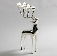 Luxurious Spotted Deer Candle Holders Stainless Steel Candlestick Candelabra Candle Holders For Wedding  Free Shipping