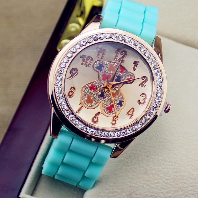 Brand Teddy Bear Casual Watch Rose Gold Rhinestone Women Dress Watch Man Women Quartz watches Unisex Wristwatch Sports watch(China (Mainland))