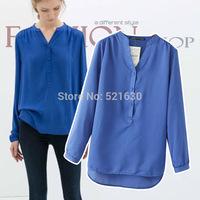 2014 fashion women's autumn long-sleeve V-neck solid color blue women's shirt  Bl2387