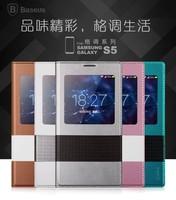 10PCS  BASEUS S VIEW ultrathin sleep /wake up flip Leather Case For Samsung Galaxy S5 G900, + retail box +Free Shipping