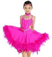 CS-07 Dance costumes feathers Girls professional latin dance dress Performance Latin salsa dresses Dancewear Latin dance costume