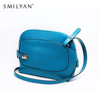 Smilyan 2014 casual oval shape small women genuine leather messenger bag 100% fashion blue crossbody bags for women leather bags