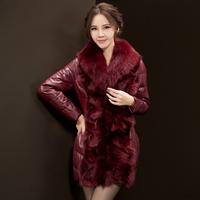 Fox fur coat for women medium-long female high quality sheepskin fur jacket Korean winter warm outerwear by DHL