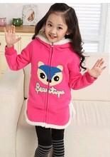 xiu zhen ren 2014 new children's small fox sweater coat winter girls candy-colored clothes lengthen A raccoon David4-14T(China (Mainland))