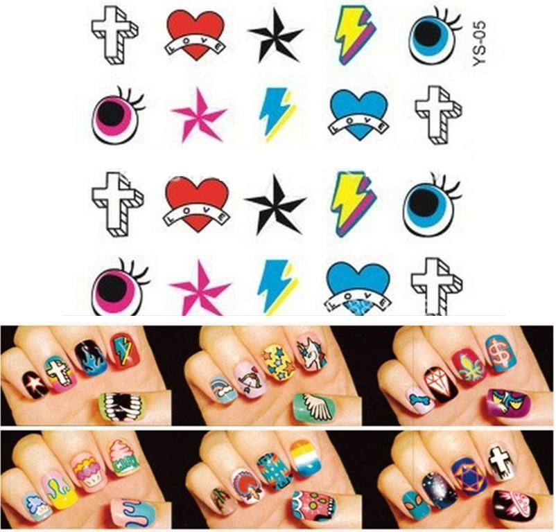 nail tools Sex Products makeup MAKE UP FEET styling Nail Sticker Nails Stickers design Art Tools cross eye star heart M34-YS05(China (Mainland))