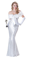 2014 New Arrival White Adult Mermaid Costume Dress Cloak Gloves For Women Halloween Free Shipping