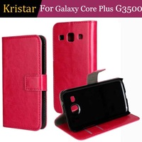 100pcs/lot Crazy Horse Series Retro Card Slot Stand Leather Case For Samsung Galaxy Core Plus G3500 Free Shipping