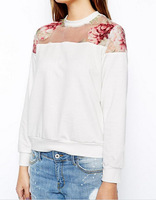 zipper back women's sweatshirts long sleeve o-neck chiffon cotton patchwork floral print knitted shirt Long sleeve AY851897