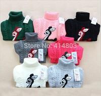 RETAIL 18 Colors! winter autumn infant baby Cartoon Deer sweater boy girl child turtleneck sweater children outerwear, 2-4years