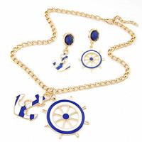 Fashion Enamel Blue Anchor & Rudder Women Jewelry Sets of Drop Earrings & Necklaces Pendants Long Necklace Bijouterie