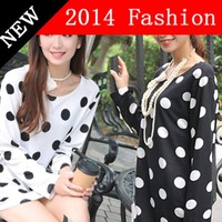 Autumn wool long sleeve black white women t shirt Polka Dot printed t-shirt 2014 New fall fashion woman shirts clothes 0825K
